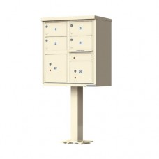 4 Tenant Door Standard Style CBU Mailbox (Pedestal Included) - Type 5 - 1570-4T5AF