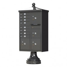 8 Tenant Door Traditional Decorative Style Mailbox (Pedestal Included) - Type 6 - 1570-8T6AF-DT