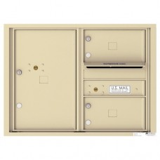 2 Oversized Tenant Doors with 1 Parcel Locker and Outgoing Mail Compartment - 4C Wall Mount 6-High Mailboxes - 4C06D-02