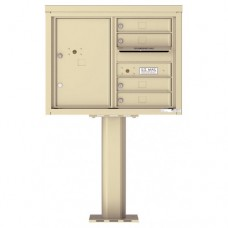 4 Tenant Doors with 1 Parcel Door and Outgoing Mail Compartment (Pedestal Included) - 4C Pedestal Mount 6-High Mailboxes - 4C06D-04-P