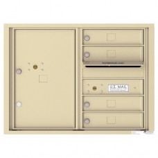 4 Tenant Doors with 1 Parcel Locker and Outgoing Mail Compartment - 4C Wall Mount 6-High Mailboxes - 4C06D-04