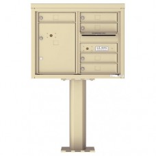 5 Tenant Doors with 1 Parcel Door and Outgoing Mail Compartment (Pedestal Included) - 4C Pedestal Mount 6-High Mailboxes - 4C06D-05-P