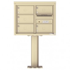 5 Over-sized Tenant Doors with Outgoing Mail Compartment (Pedestal Included) - 4C Pedestal Mount 6-High Mailboxes - 4C06D-05X-P