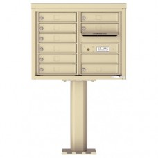 9 Tenant Doors with Outgoing Mail Compartment (Pedestal Included) - 4C Pedestal Mount 6-High Mailboxes - 4C06D-09-P