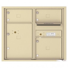 3 Oversized Tenant Doors with 1 Parcel Locker and Outgoing Mail Compartment - 4C Wall Mount 7-High Mailboxes - 4C07D-03