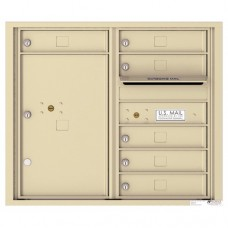6 Tenant Doors with 1 Parcel Locker and Outgoing Mail Compartment - 4C Wall Mount 7-High Mailboxes - 4C07D-06