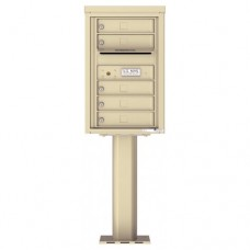 5 Tenant Doors with Outgoing Mail Compartment (Pedestal Included) - 4C Pedestal Mount 7-High Mailboxes - 4C07S-05-P