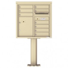 9 Tenant Doors with 1 Parcel Door and Outgoing Mail Compartment (Pedestal Included) - 4C Pedestal Mount 8-High Mailboxes - 4C08D-09-P