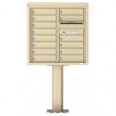 14 Tenant Doors with Outgoing Mail Compartment (Pedestal Included) - 4C Pedestal Mount 8-High Mailboxes - 4C08D-14-P