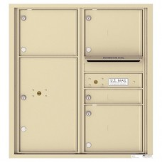1 Standard and 3 Oversized Tenant Doors with 1 Parcel Locker and Outgoing Mail Compartment - 4C Wall Mount 9-High Mailboxes - 4C09D-04
