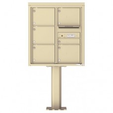 1 Standard and 5 Over-sized Tenant Doors with Outgoing Mail Compartment (Pedestal Included) - 4C Pedestal Mount 9-High Mailboxes - 4C09D-06-P