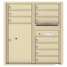 10 Tenant Doors with 1 Parcel Locker and Outgoing Mail Compartment - 4C Wall Mount 9-High Mailboxes - 4C09D-10