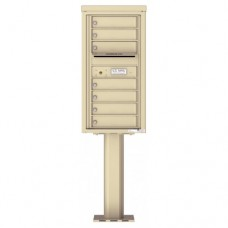 7 Tenant Doors with Outgoing Mail Compartment (Pedestal Included) - 4C Pedestal Mount 7-High Mailboxes - 4C09S-07-P
