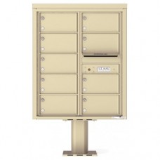9 Over-sized Tenant Doors with Outgoing Mail Compartment (Pedestal Included) - 4C Pedestal Mount 10-High Mailboxes - 4C10D-09-P