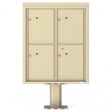 4 Parcel Door Unit - 4C Pedestal Mount 10-High (Pedestal Included) - 4C10D-4P-P