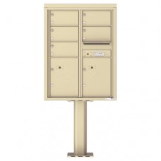 5 Over-sized Tenant Doors with 2 Parcel Doors and Outgoing Mail Compartment (Pedestal Included) - 4C Pedestal Mount 11-High Mailboxes - 4C11D-05-P