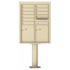 10 Tenant Doors with 2 Parcel Doors and 1 Outgoing Mail Compartment (Pedestal Included) - 4C Pedestal Mount 11-High Mailboxes - 4C11D-10-P