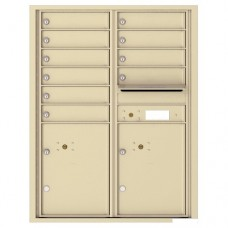 10 Tenant Doors with 2 Parcel Lockers and Outgoing Mail Compartment - 4C Wall Mount 11-High Mailboxes - 4C11D-10