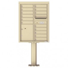 15 Tenant Doors with 1 Parcel Door and Outgoing Mail Compartment (Pedestal Included) - 4C Pedestal Mount 11-High Mailboxes - 4C11D-15-P