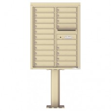 19 Tenant Doors with Outgoing Mail Compartment (Pedestal Included) - 4C Pedestal Mount 11-High Mailboxes - 4C11D-19-P