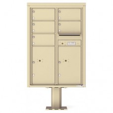 5 Over-sized Tenant Doors with 2 Parcel Doors and 1 Outgoing Mail Compartment (Pedestal Included) - 4C Pedestal Mount 12-High Mailboxes - 4C12D-05-P