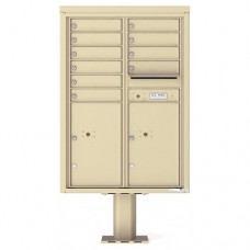 10 Tenant Doors with 2 Parcel Doors and 1 Outgoing Mail Compartment (Pedestal Included) - 4C Pedestal Mount 12-High Mailboxes - 4C12D-10-P