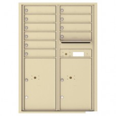 10 Tenant Doors with 2 Parcel Lockers and Outgoing Mail Compartment - 4C Wall Mount 12-High Mailboxes - 4C12D-10