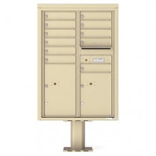 11 Tenant Doors with 2 Parcel Doors and 1 Outgoing Mail Compartment (Pedestal Included) - 4C Pedestal Mount 12-High Mailboxes - 4C12D-11-P