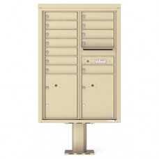 12 Tenant Doors with 2 Parcel Doors and 1 Outgoing Mail Compartment (Pedestal Included) - 4C Pedestal Mount 12-High Mailboxes - 4C12D-12-P