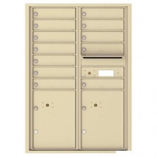 12 Tenant Doors with 2 Parcel Lockers and Outgoing Mail Compartment - 4C Wall Mount 12-High Mailboxes - 4C12D-12