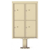 4 Parcel Door Unit - 4C Pedestal Mount 12-High (Pedestal Included) - 4C12D-4P-P
