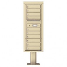 10 Tenant Doors with Outgoing Mail Compartment (Pedestal Included) - 4C Pedestal Mount 12-High Mailboxes - 4C12S-10-P