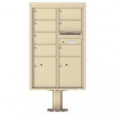 7 Over-sized Tenant Doors with 2 Parcel Doors and 1 Outgoing Mail Compartment (Pedestal Included) - 4C Pedestal Mount 13-High Mailboxes - 4C13D-07-P