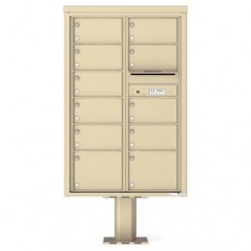 11 Over-sized Tenant Doors with Outgoing Mail Compartment (Pedestal Included) - 4C Pedestal Mount 13-High Mailboxes - 4C13D-11-P
