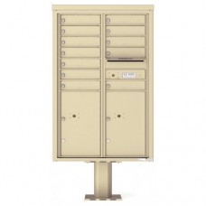 12 Tenant Doors with 2 Parcel Doors and 1 Outgoing Mail Compartment (Pedestal Included) - 4C Pedestal Mount 13-High Mailboxes - 4C13D-12-P