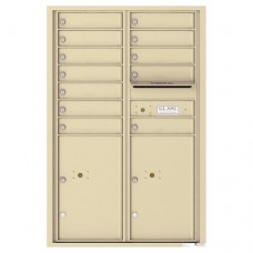 12 Tenant Doors with 2 Parcel Lockers and Outgoing Mail Compartment - 4C Wall Mount 13-High Mailboxes - 4C13D-12
