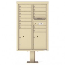 13 Tenant Doors with 2 Parcel Doors and 1 Outgoing Mail Compartment (Pedestal Included) - 4C Pedestal Mount 13-High Mailboxes - 4C13D-13-P
