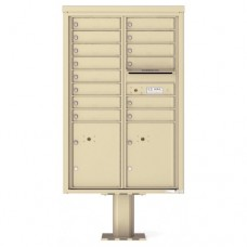 14 Tenant Doors with 2 Parcel Doors and 1 Outgoing Mail Compartment (Pedestal Included) - 4C Pedestal Mount 13-High Mailboxes - 4C13D-14-P