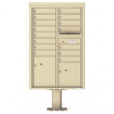15 Tenant Doors with 2 Parcel Doors and 1 Outgoing Mail Compartment (Pedestal Included) - 4C Pedestal Mount 13-High Mailboxes - 4C13D-15-P