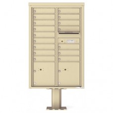 16 Tenant Doors with 2 Parcel Doors and 1 Outgoing Mail Compartment (Pedestal Included) - 4C Pedestal Mount 13-High Mailboxes - 4C13D-16-P