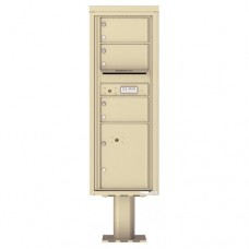 3 Over-sized Tenant Doors with 1 Parcel Door and Outgoing Mail Compartment (Pedestal Included) - 4C Pedestal Mount 13-High Mailboxes - 4C13S-03-P