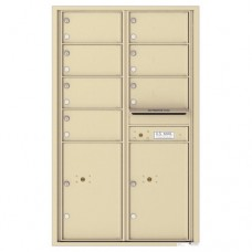 7 Oversized Tenant Doors with 2 Parcel Lockers and Outgoing Mail Compartment - 4C Wall Mount 14-High Mailboxes - 4C14D-07