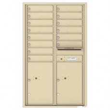 14 Tenant Doors with 2 Parcel Lockers and Outgoing Mail Compartment - 4C Wall Mount 14-High Mailboxes - 4C14D-14