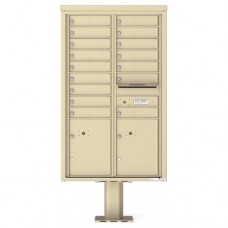 16 Tenant Doors with 2 Parcel Doors and 1 Outgoing Mail Compartment (Pedestal Included) - 4C Pedestal Mount 14-High Mailboxes - 4C14D-16-P