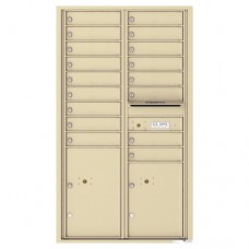 17 Tenant Doors with 2 Parcel Lockers and Outgoing Mail Compartment - 4C Wall Mount 15-High Mailboxes - 4C15D-17