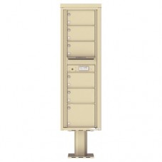 6 Over-sized Tenant Doors with Outgoing Mail Compartment (Pedestal Included) - 4C Pedestal Mount 15-High Mailboxes - 4C15S-06-P