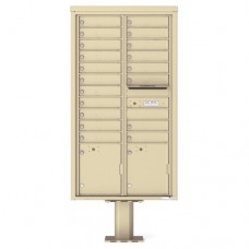19 Tenant Doors with 2 Parcel Doors and 1 Outgoing Mail Compartment (Pedestal Included) - 4C Pedestal Mount Max Height Mailboxes - 4C16D-19-P
