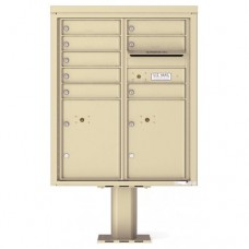 8 Tenant Doors with 2 Parcel Doors and 1 Outgoing Mail Compartment (Pedestal Included) - 4C Pedestal Mount ADA Max Height Mailboxes - 4CADD-08-P