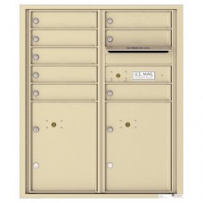 8 Tenant Doors with 2 Parcel Lockers and Outgoing Mail Compartment - 4C Wall Mount ADA Max Height Mailboxes - 4CADD-08