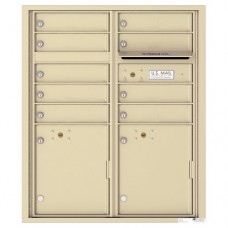 9 Tenant Doors with 2 Parcel Lockers and Outgoing Mail Compartment - 4C Wall Mount ADA Max Height Mailboxes - 4CADD-09